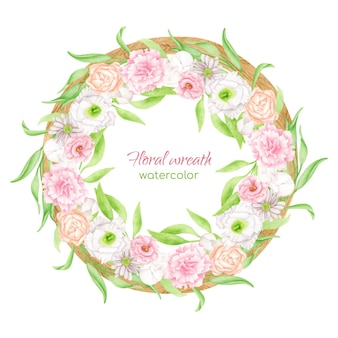 Watercolor floral wreath with round wood frame. blush flowers and greenery