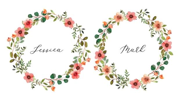 작은 복숭아 꽃과 수채화 꽃 화환