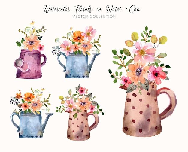 水彩花柄と水缶ベクトルコレクション