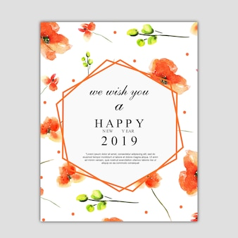 Watercolor florals greeting card