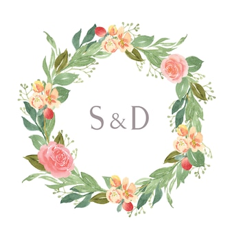 Watercolor florals hand painted with text wreaths