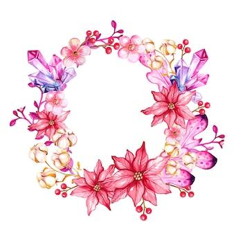水彩花と宝石の花輪