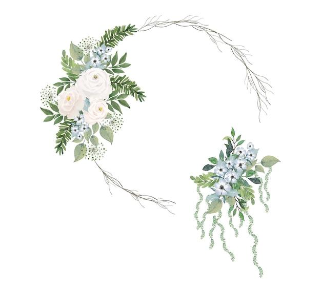円形の枝フレームと水彩花と緑の葉