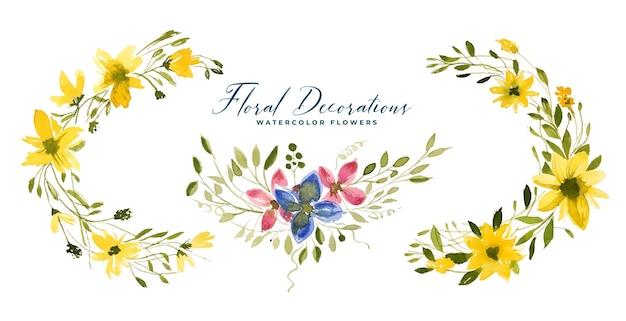 수채화 꽃과 나뭇잎 꽃다발 구색