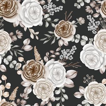 Акварельный цветок и листья бесшовный фон