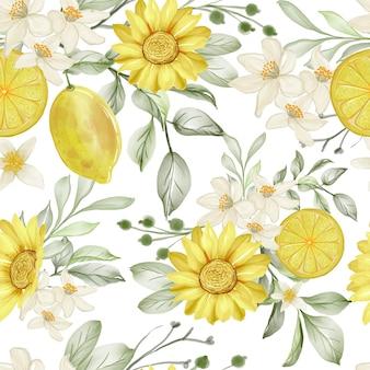 Акварельный цветок и лимонный лайм бесшовные модели