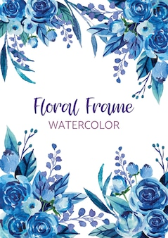 Watercolor flower background border