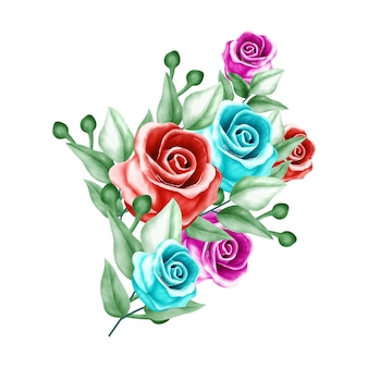 Watercolor flower bouquet background