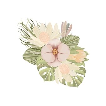 自由奔放に生きるスタイルの水彩画の花の花束