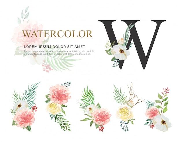 Watercolor flower bouquet set.