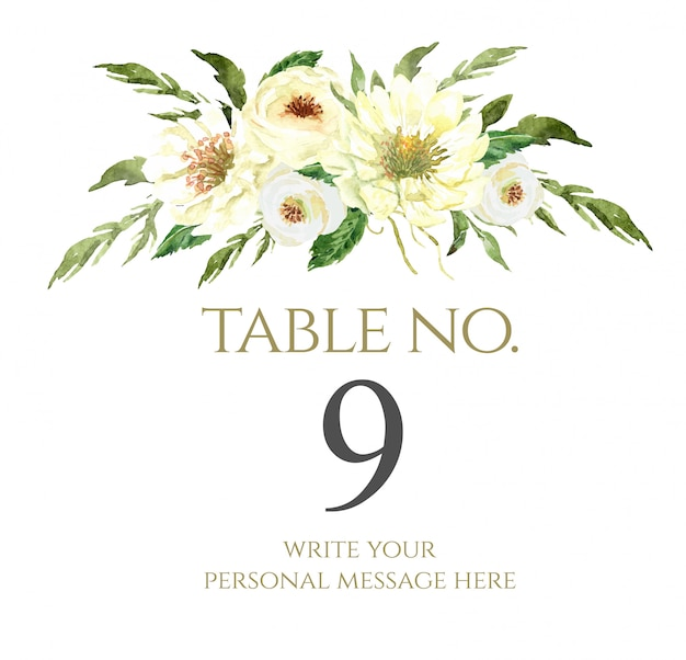 Watercolor flower bouquet table number for wedding.