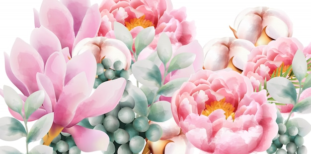 Watercolor flower bouquet with magnolia and peony Premium Vector