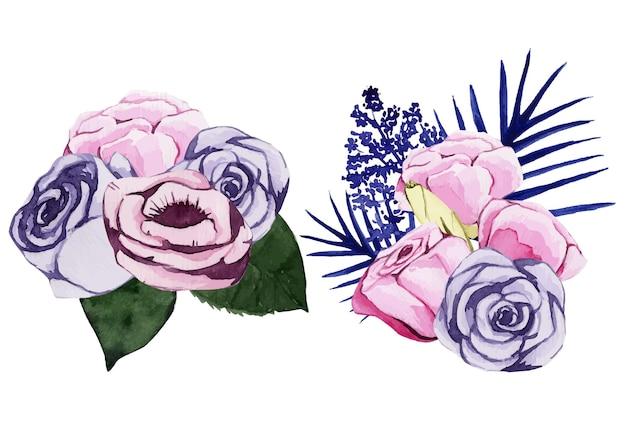 핑크와 블루 장미의 수채화 꽃 꽃다발