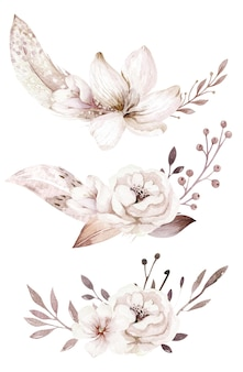 Watercolor flower composition for wedding and birthday card invitation boho blossom