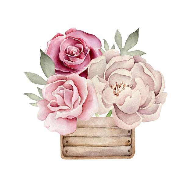 Watercolor flower composition with roses in wooden box
