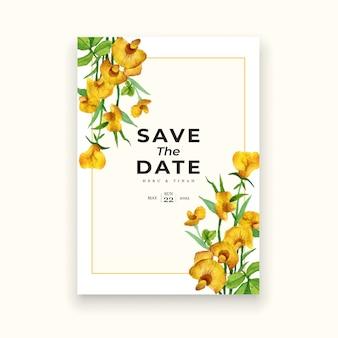 水彩花のクリーミーな結婚式の招待カードテンプレート