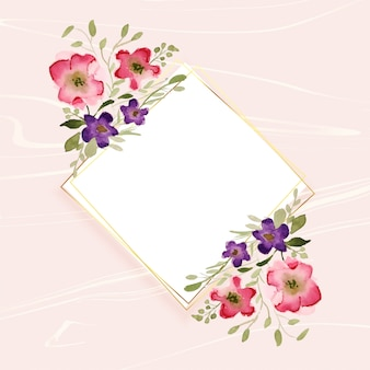 Watercolor flower decoration on diamond shape frame