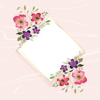 ダイヤモンド形フレームの水彩花飾り