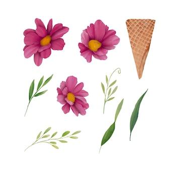 水彩花要素とウエハースアイスクリームコーン