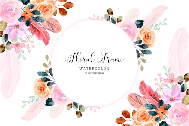 Watercolor flower and feather frame background