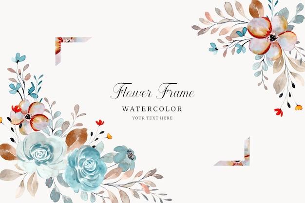 수채화 꽃 프레임 장미 꽃 배경