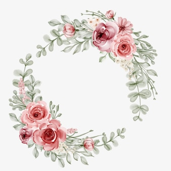 Watercolor flower frame with circular border