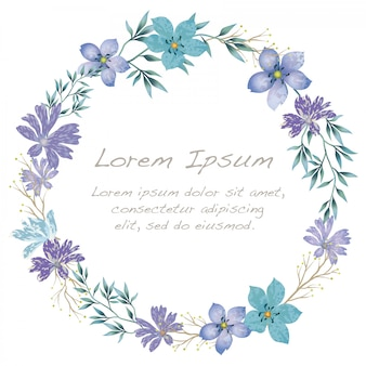 Watercolor flower frame with text space isolated on white background.