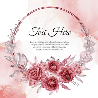 Watercolor flower frame wreath with rose red