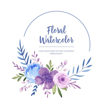 Watercolor flower frame wreath