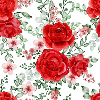 Watercolor flower freedom rose red seamless pattern