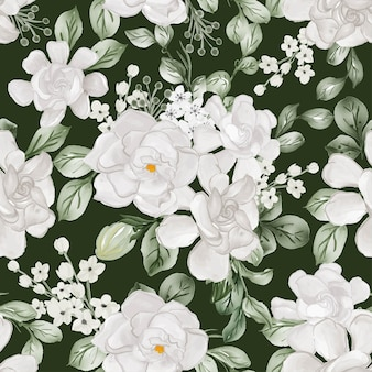 Watercolor flower gardenia white and leaves seamless pattern