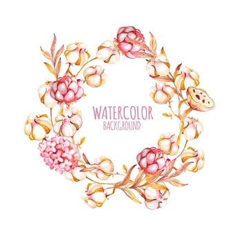 綿とピンクの花と水彩花輪