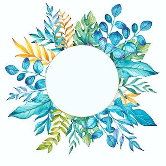 수채화 꽃 녹색과 파란색 배경