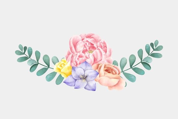 Clipart botanico disegnato a mano del fiore dell'acquerello