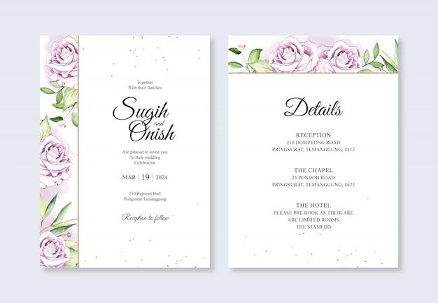 ミニマリストの結婚式の招待状のテンプレートの水彩画の花の手の絵