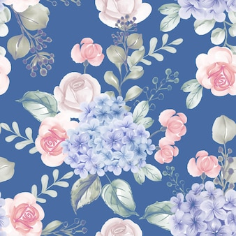 Watercolor flower hydrangea and leaves blue seamless pattern