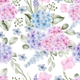 Watercolor flower hydrangea and leaves seamless pattern
