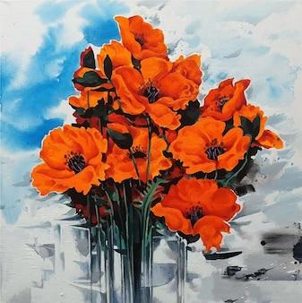 花瓶の花束のカラフルな絵画の水彩画の花