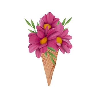 ウエハースアイスクリームコーンの水彩花