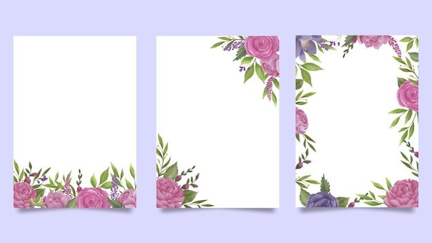 水彩花の招待カードテンプレート