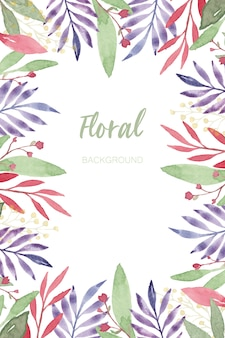 Watercolor flower and leaf frame background