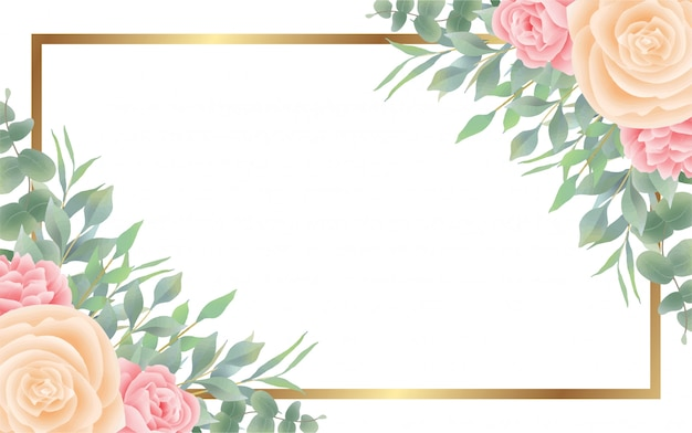 Watercolor flower and leaf style background and golden frame