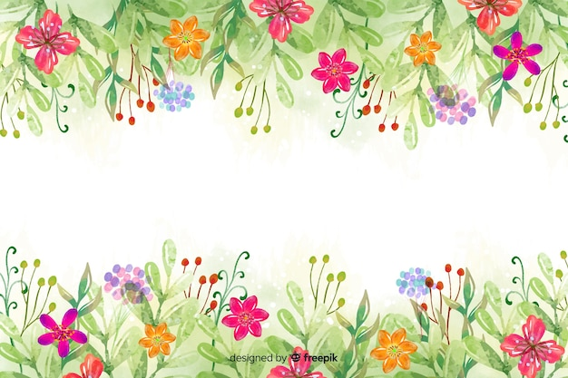 Watercolor flower and leaves background