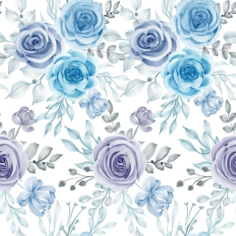 Watercolor flower and leaves blue seamless pattern