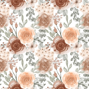 Watercolor flower and leaves pastel beige seamless pattern