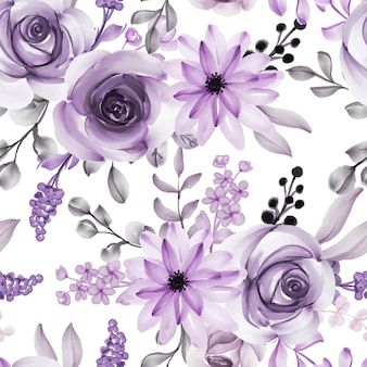 Watercolor flower and leaves purple seamless pattern