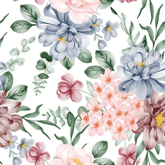 Watercolor flower and leaves seamless pattern
