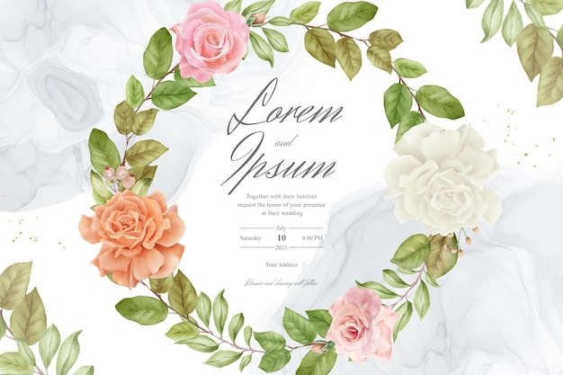 Watercolor flower and leaves wedding invitation design background