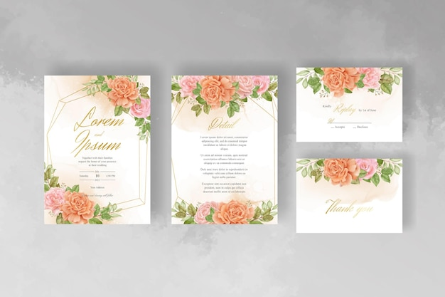 Watercolor flower and leaves wedding invitation template