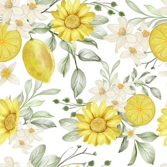 Watercolor flower and lemon lime seamless pattern
